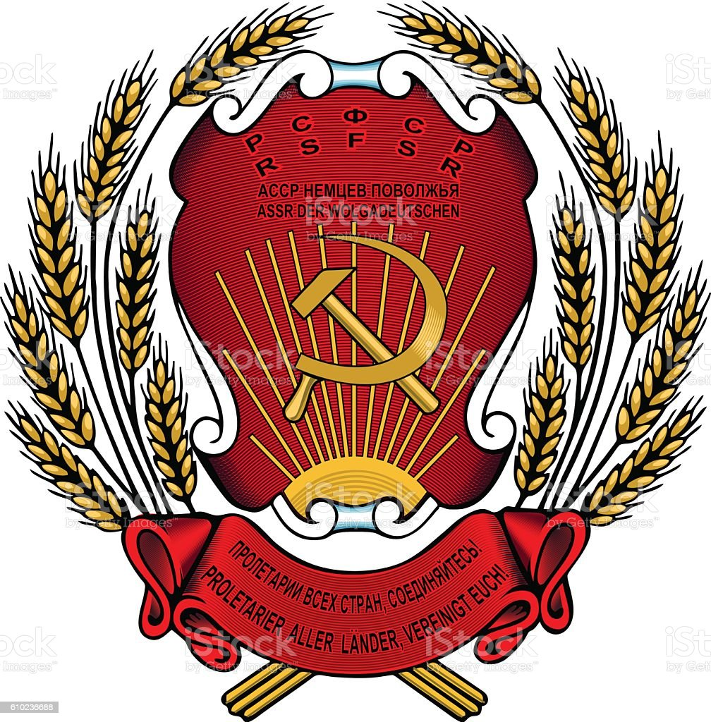 Wolgadeutschen Soviet Russian, Germany, Coat of Arms, DDR vector art illustration