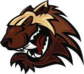 Wolverine Badger Mascot Head Vector Illustration