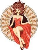 Woman a Art Nouveau style sitting in ornamental circle.