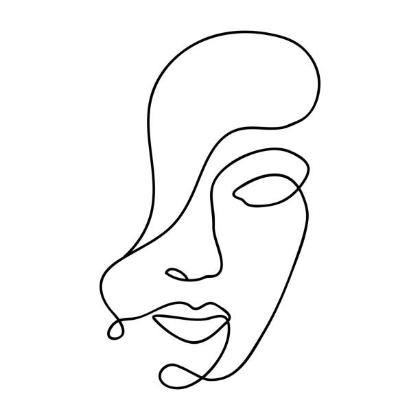 woman abstract face, one line drawing. hand drawn outline illustration. continuous line. portret female. vector illustration - lineart stock illustrations