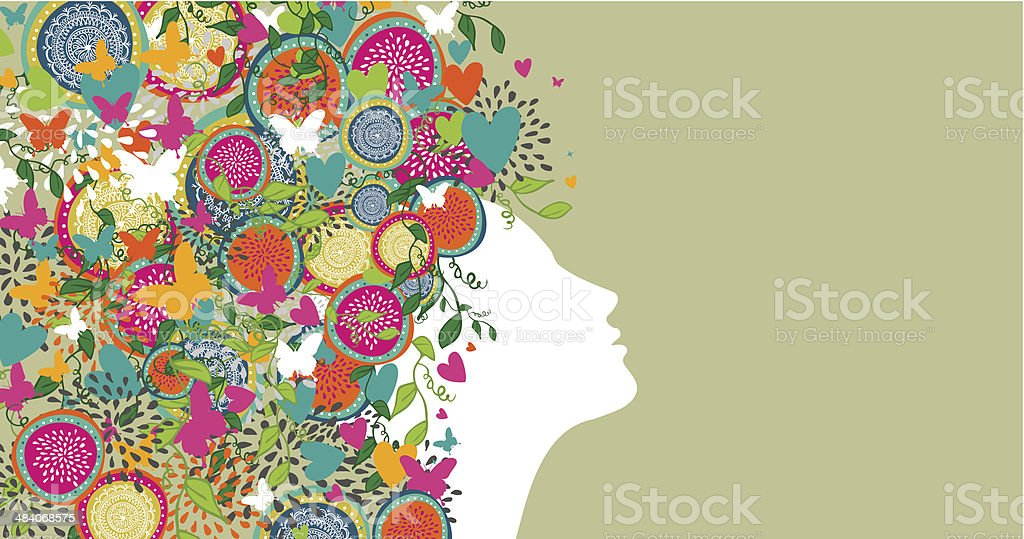 woman abstract hair design banner vector art illustration