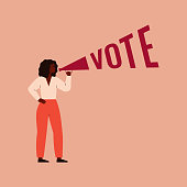 istock Woman activist is calling for votes. 1214638319