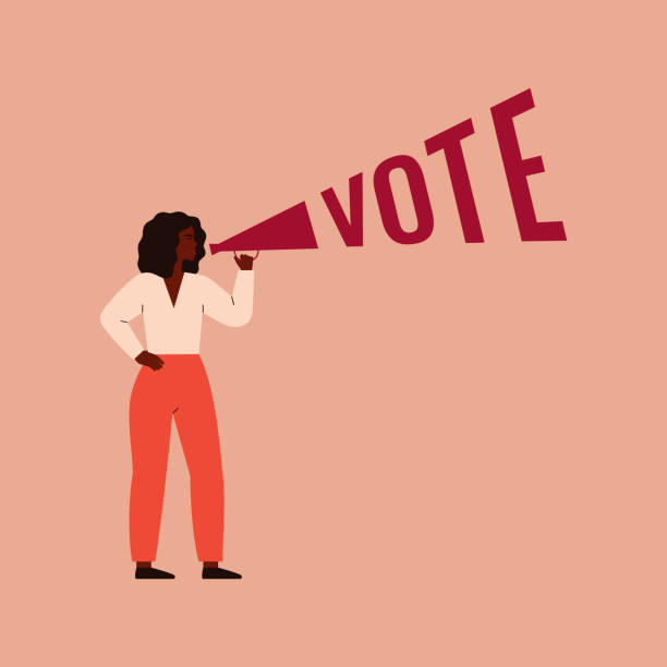 Woman activist is calling for votes. Strong black girl speaks into a megaphone. Woman activist is calling for votes. Voting, Election and suffrage women concept. Vector illustration women's suffrage stock illustrations