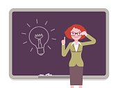 Woman against the blackboard with drawn light bulb