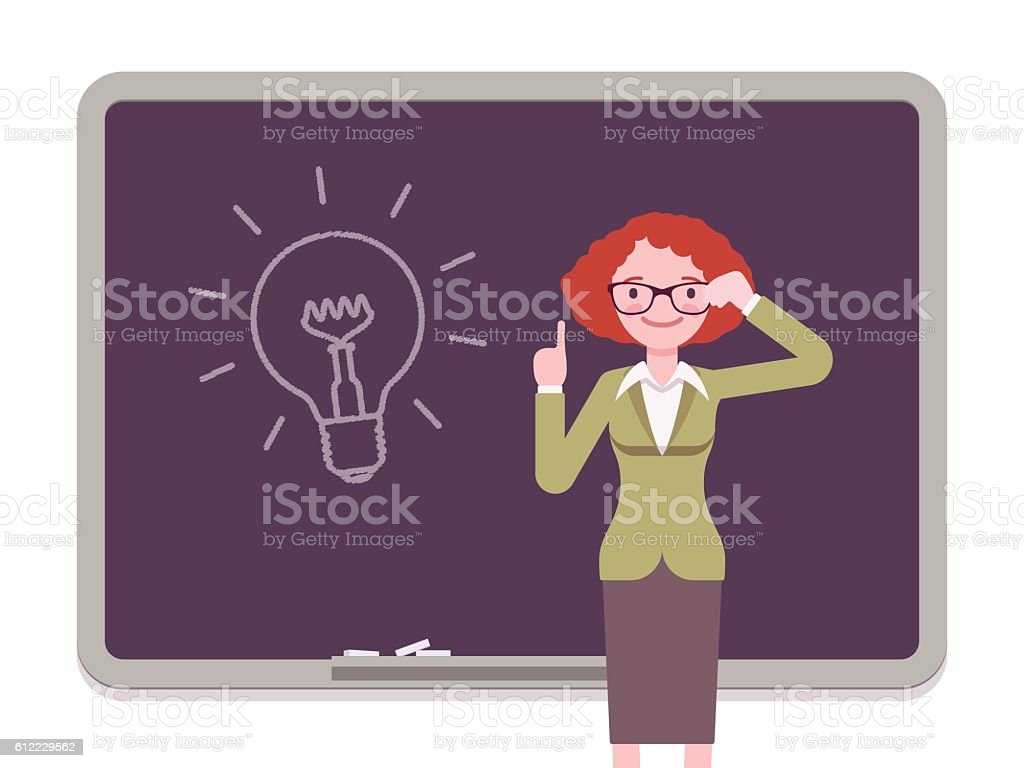Woman against the blackboard with drawn light bulb vector art illustration