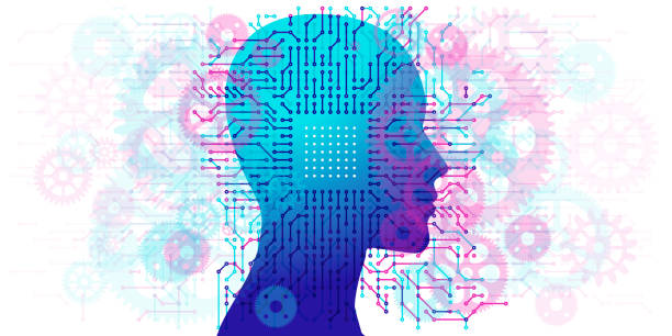 woman a.i. - circuit board and gears - facial recognition stock illustrations