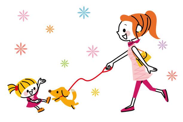 女と犬と歩く少女。 - 主婦 日本人点のイラスト素材/クリップアート素材/マンガ素材/アイコン素材