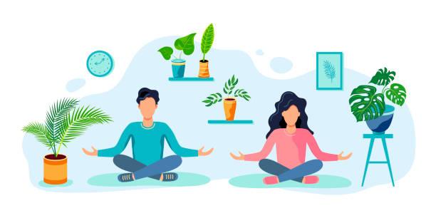 illustrazioni stock, clip art, cartoni animati e icone di tendenza di a woman and a man are sitting in a meditative pose at home. - woman portrait forest