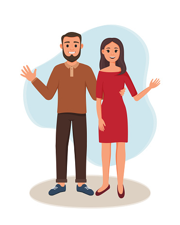 A woman and a man are standing. Vector illustration of happy lovers. Smiling couple waving hand. Brother and sister
