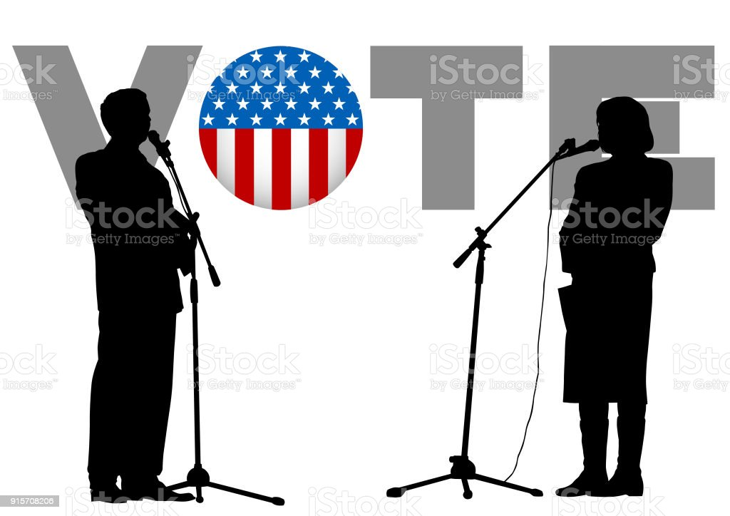 Woman and a man in debate vector art illustration