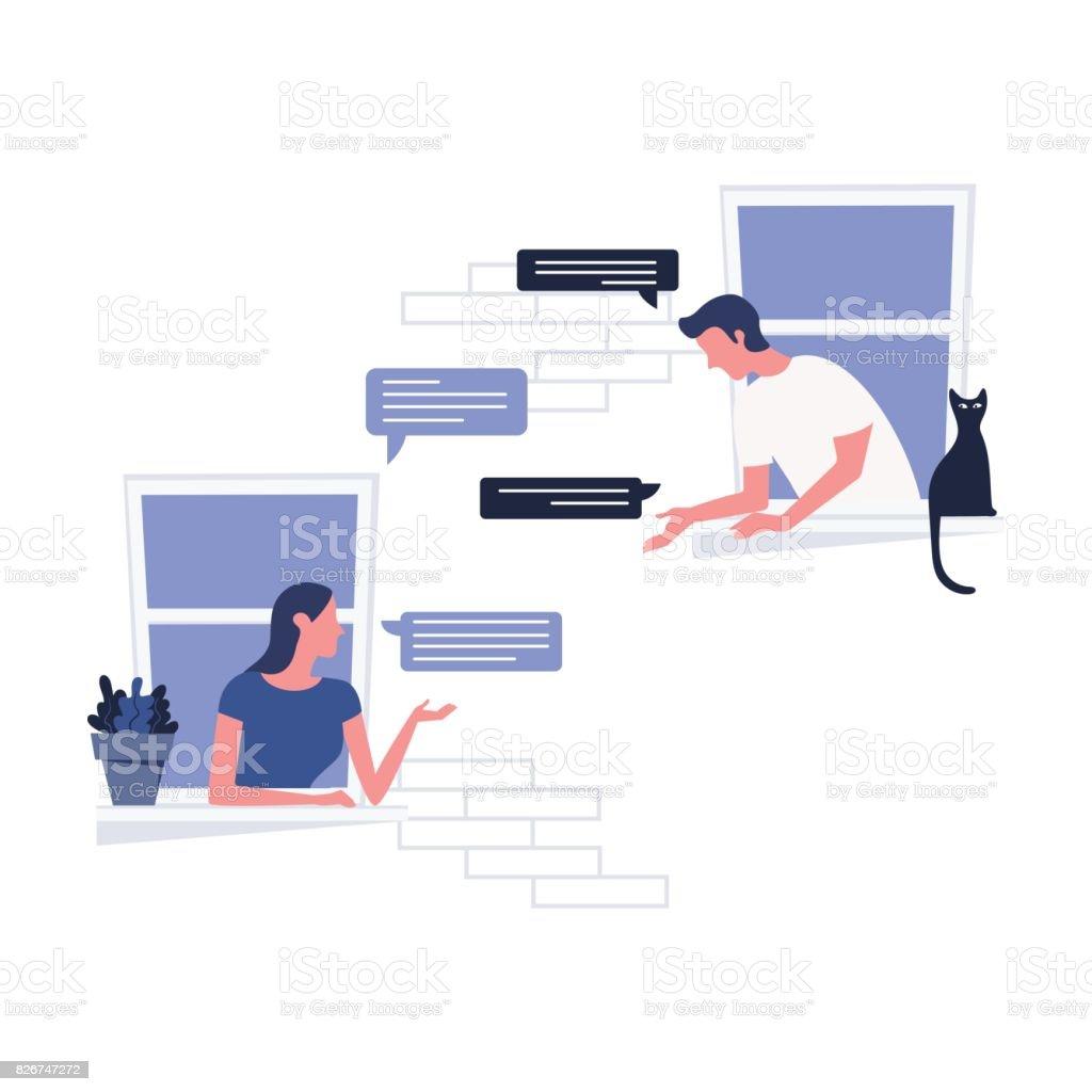 Frau und ein Mann von Schiefer aus dem Fenster miteinander zu reden. Live-Kommunikationskonzept. Vektor-IllustrationWoman und ein Mann von Schiefer aus dem Fenster miteinander zu reden. Live-Kommunikationskonzept. Vektor-illustration – Vektorgrafik