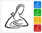 Woman and Baby Icon. This 100% royalty free vector illustration features the main icon pictured in black inside a white square. The alternative color options in blue, green, yellow and red are on the right of the icon and are arranged in a vertical column.