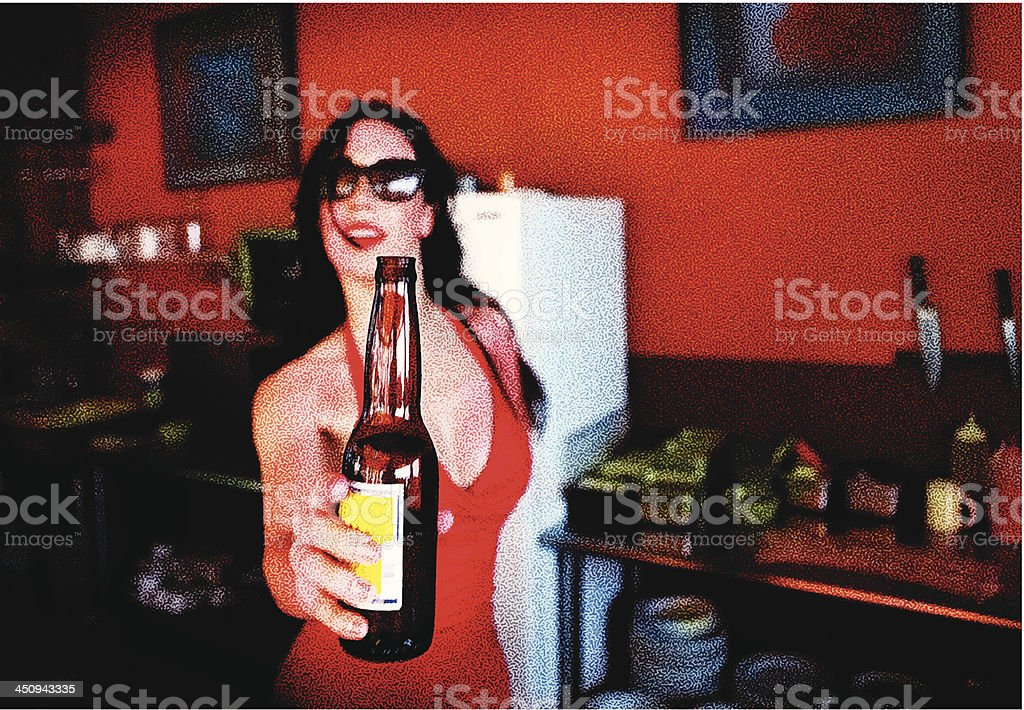 Woman and Beer vector art illustration