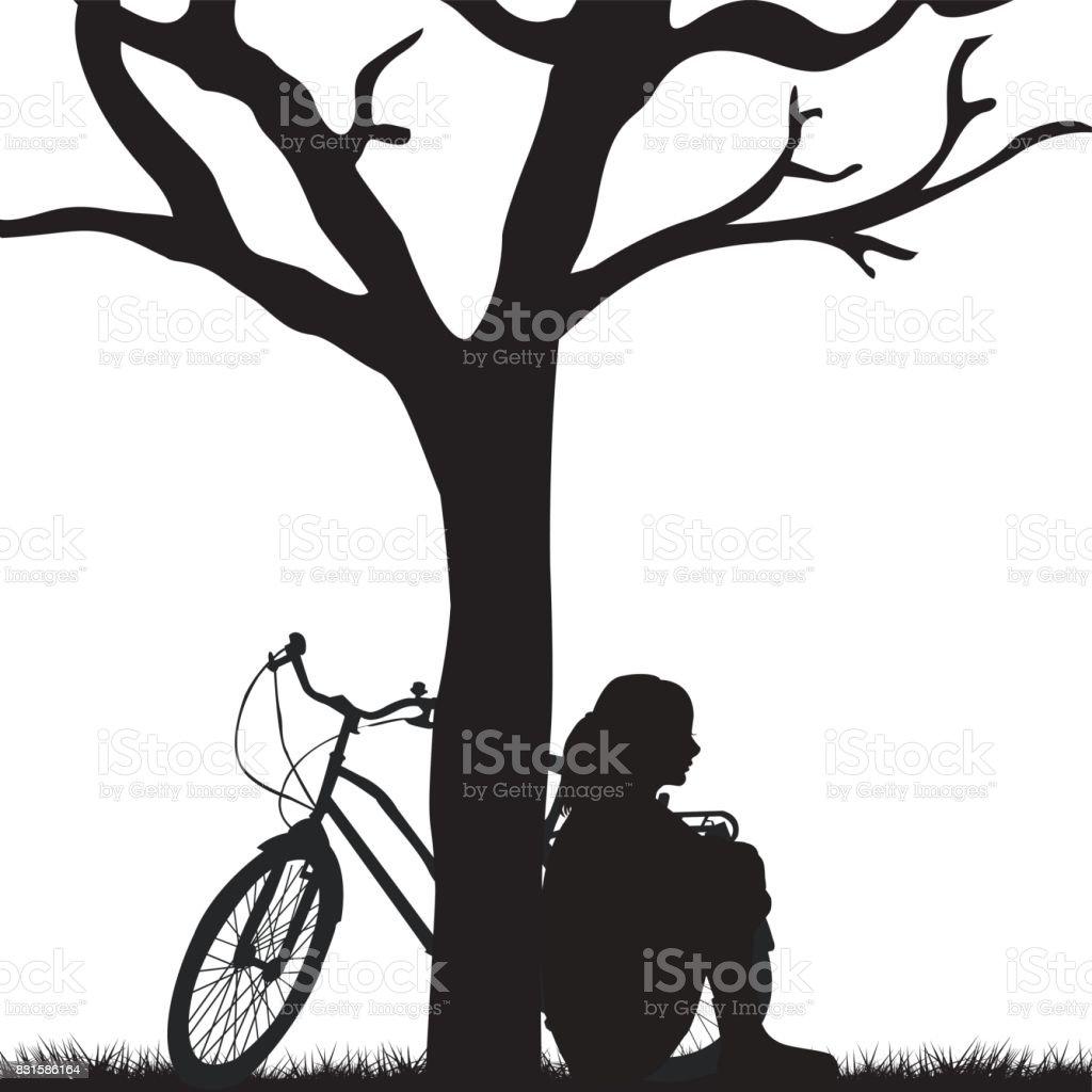 Frau und Fahrrad an einen Baum gelehnt – Vektorgrafik