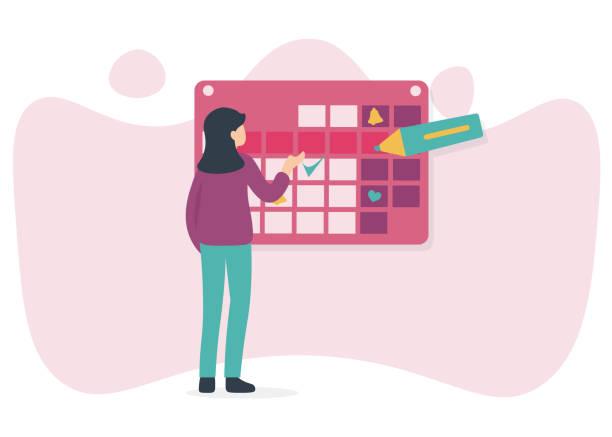 woman and calendar, marker vector art illustration