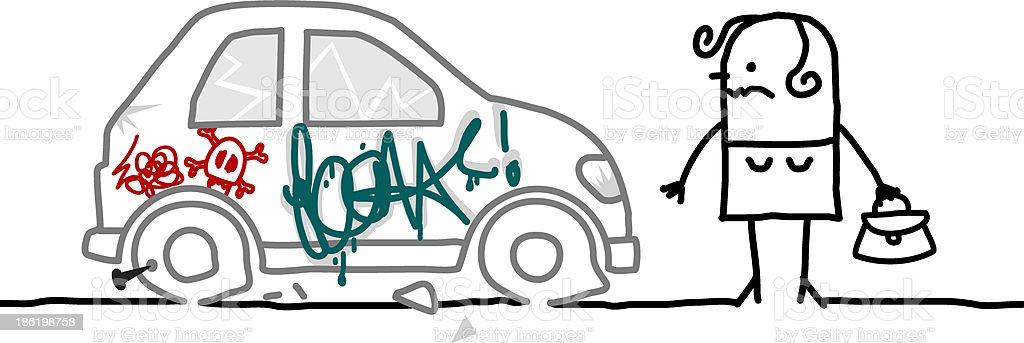 woman and car vandalized royalty-free stock vector art