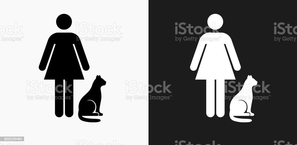 Femme et l'icône de chat sur fond de Vector noir et blanc - Illustration vectorielle