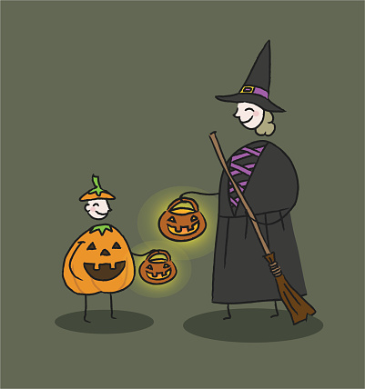 Woman and child halloween