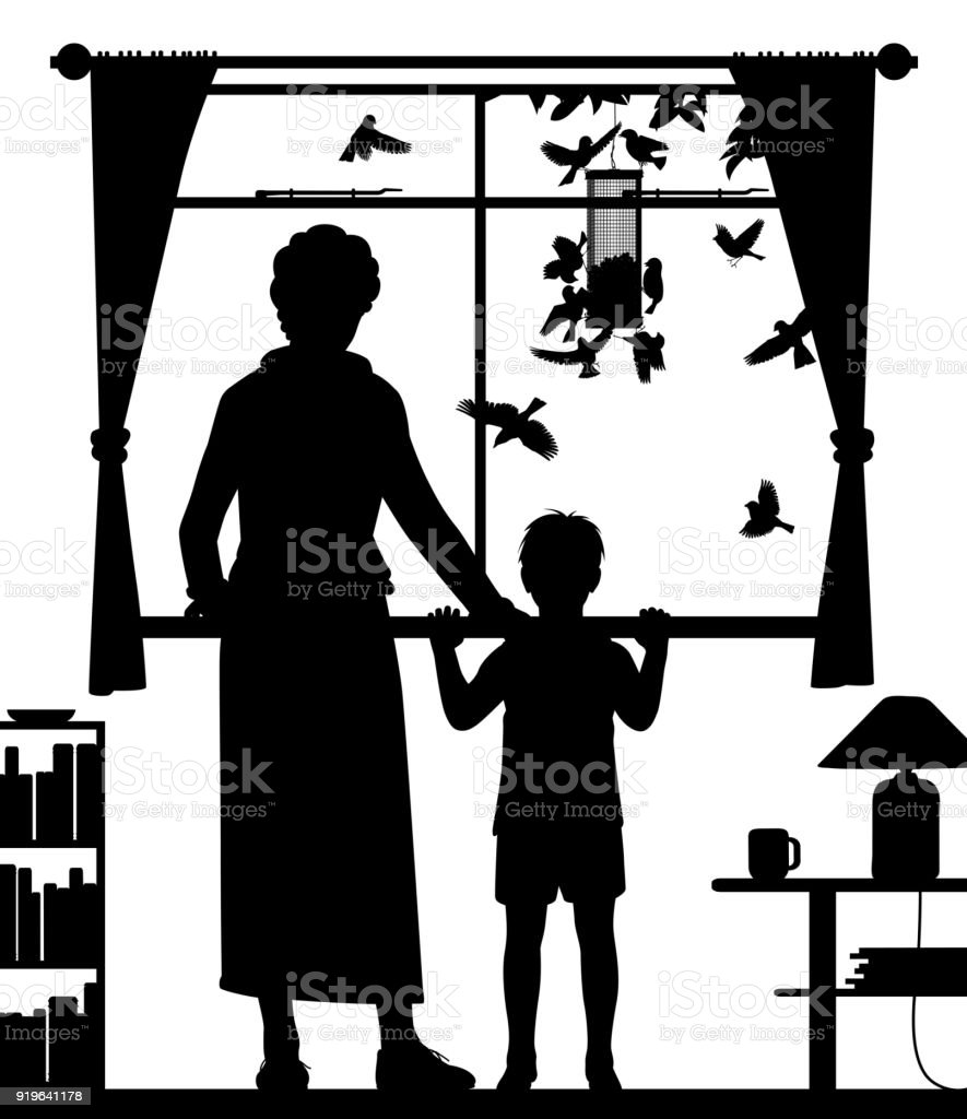 Woman and child watching birds vector art illustration