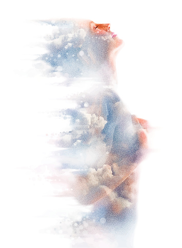 Montage of a woman, clouds and spirituality.