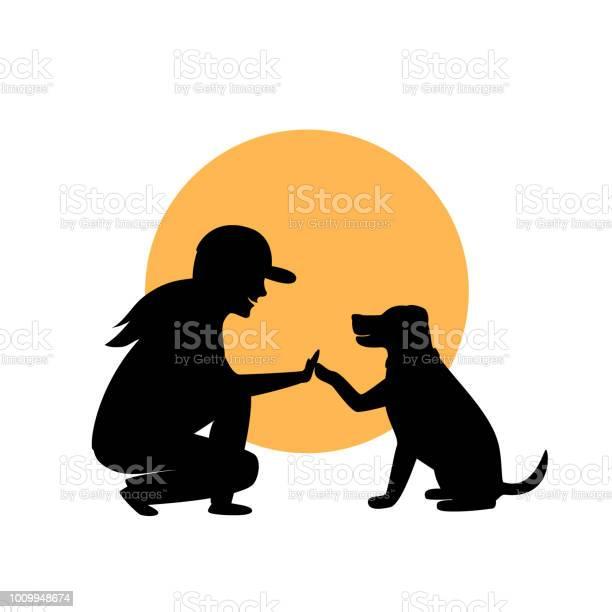 Woman and dog greeting silhouette graphic vector id1009948674?b=1&k=6&m=1009948674&s=612x612&h=ytfwkrrdfao9nr73vkec0mvb9ae 2jbtsmmwlwpa0vw=