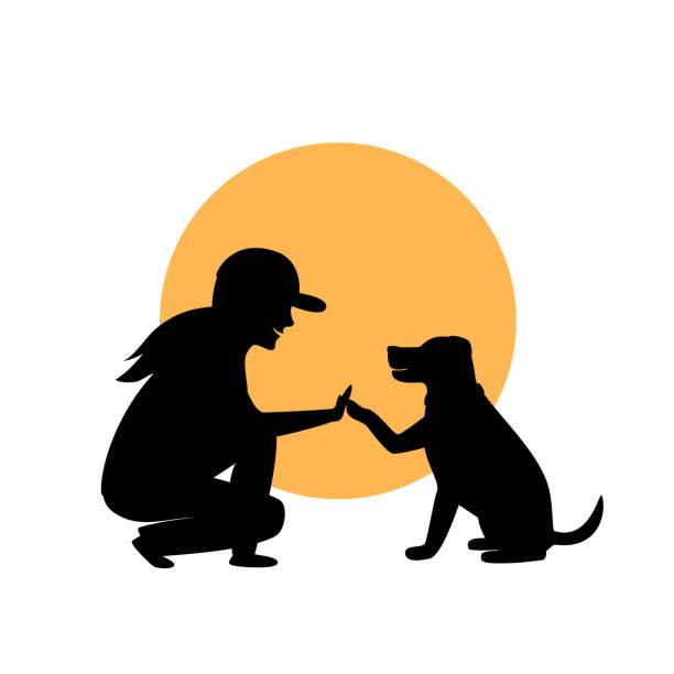 ilustraciones, imágenes clip art, dibujos animados e iconos de stock de mujer y perro saludo silueta gráfica - training