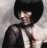 Mezzotint illustration of woman with dry, damaged skin.