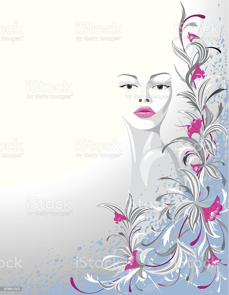 Woman and flowers. royalty-free woman and flowers stock vector art & more images of abstract