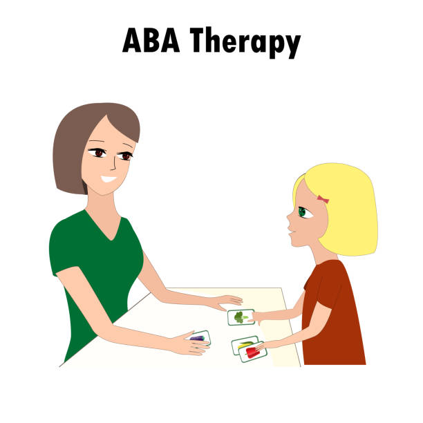 Woman and girl pointing ABA activities cards. One of autism treatment method. Little kid and instructor. vector art illustration