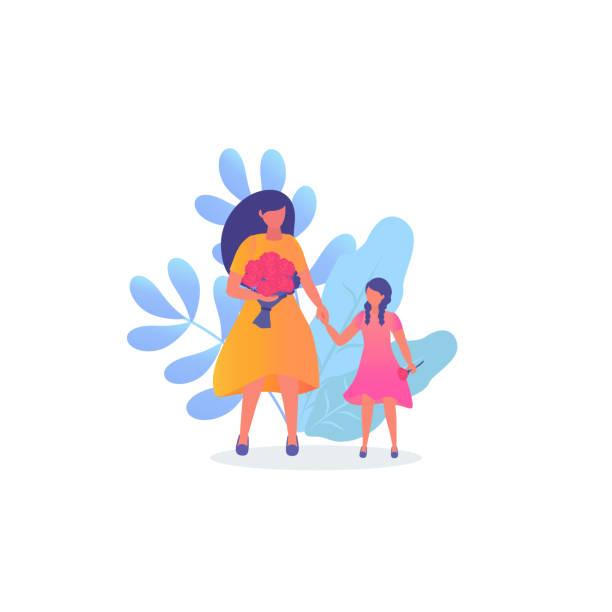illustrations, cliparts, dessins animés et icônes de femme et sa fille. la fête des mères. - enfants de bande dessinée