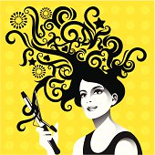 Woman curling her hair. The face is imaginary and has no resemblance to any existing person.
