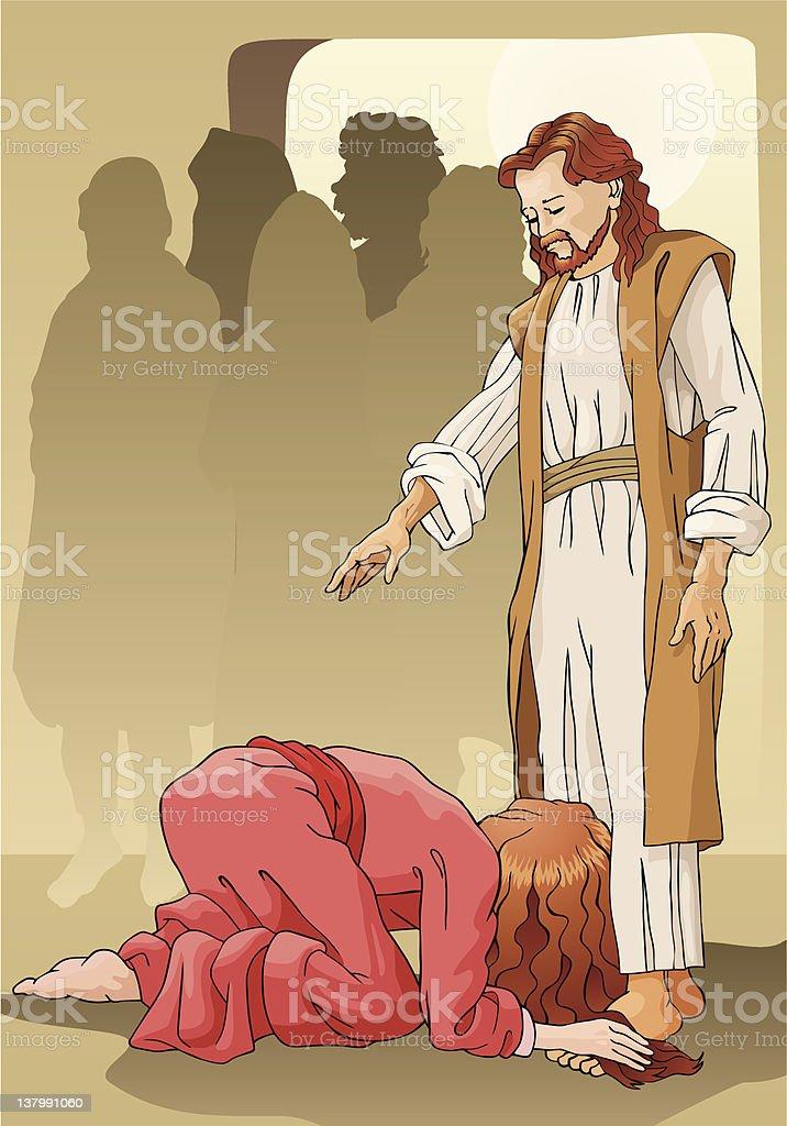 Woman and Jesus vector art illustration