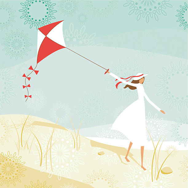 Woman and kite on the beach vector art illustration