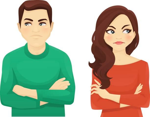 ilustrações de stock, clip art, desenhos animados e ícones de woman and man angry emotion - deceção