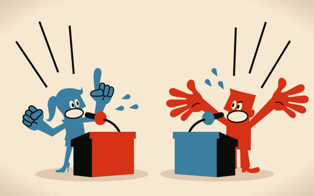 Woman and man are debating, standing behind a lectern, platform with microphone vector art illustration