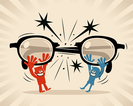 Woman and man break glasses and decide not to look at each other through big eyeglasses (filter, prejudice, bias, stereotype)