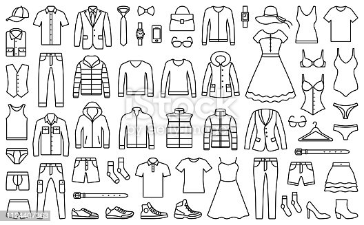 Woman and man clothes and accessories collection - fashion wardrobe - vector icon outline illustration