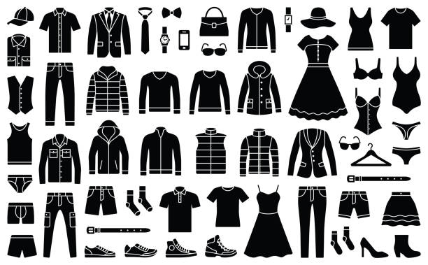 Woman and man clothes Woman and man clothes and accessories collection - fashion wardrobe - vector icon silhouette illustration clothing stock illustrations