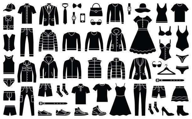 ilustrações de stock, clip art, desenhos animados e ícones de woman and man clothes - vestuário