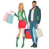 Woman shopping and shopping bags with her boyfriend.