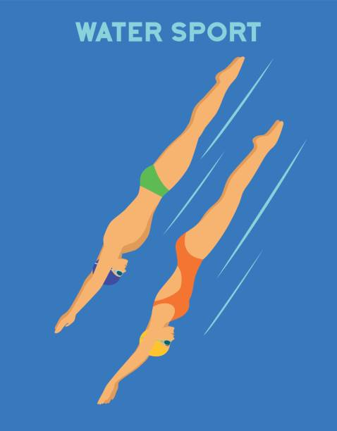 ilustrações de stock, clip art, desenhos animados e ícones de woman and man diving into pool. water sports - jump pool, swimmer