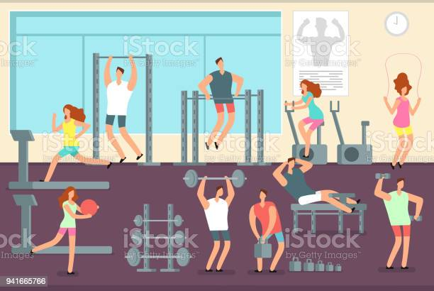 Woman and man doing various sports exercises in gym fitness indoor vector id941665766?b=1&k=6&m=941665766&s=612x612&h=es8xl5hgoqv7uefukernulfwvp1fgw8xkctf5ea7ypo=