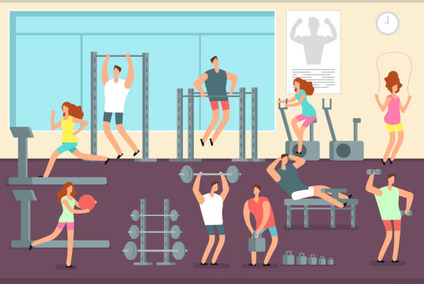 Woman and man doing various sports exercises in gym. Fitness indoor workout vector concept vector art illustration