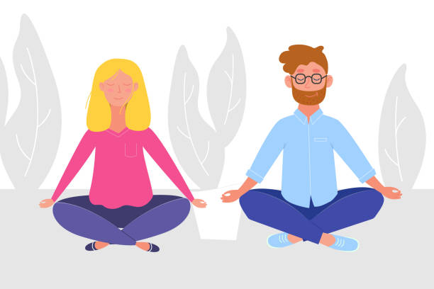 woman and man doing yoga and meditating visiting in a lotus pose. illustration in vector - meditating stock illustrations