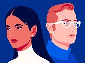 Woman and man. Family relationships and gender conflict. Psychology. Husband and wife are getting divorced. Vector flat illustration