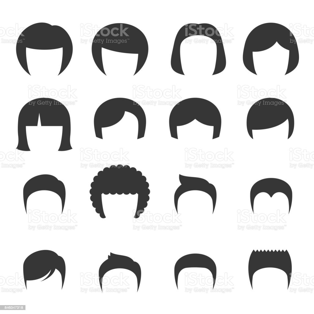 Woman and Man Hair Set. Vector vector art illustration