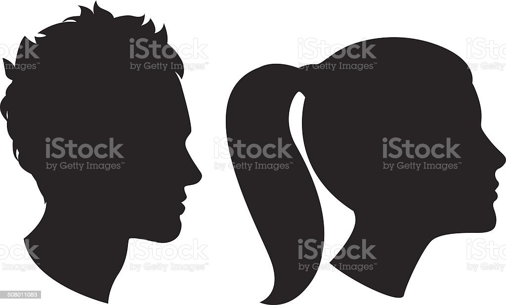Woman and man head silhouette
