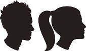 Vector Illustration Icons of Woman and man head silhouette