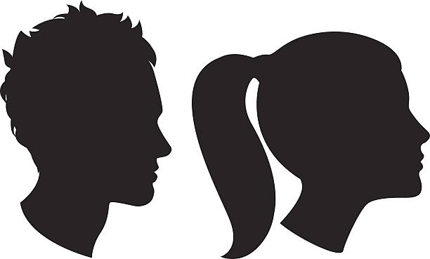 woman and man head silhouette - female faces stock illustrations, clip art, cartoons, & icons
