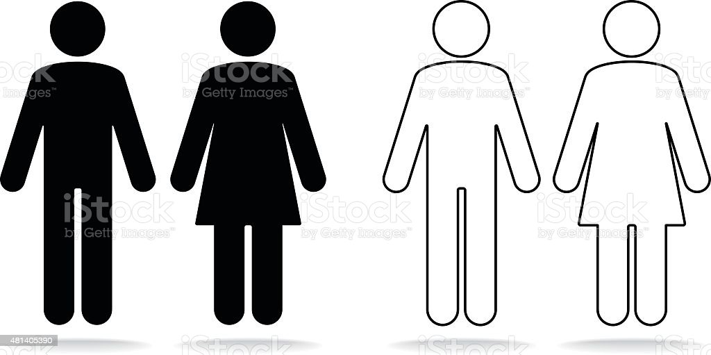 Woman and man icons vector art illustration